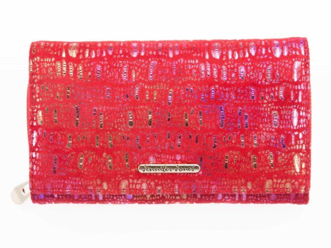 Czerwony portfel Jennifer Jones miękki materiał