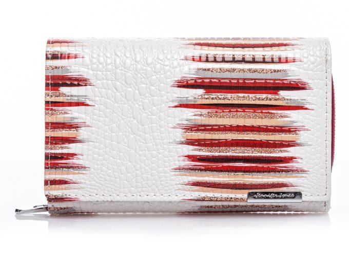 Duży, biały portfel damski lakierowany