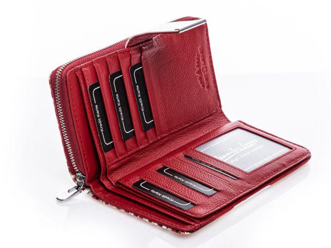 Czerwony portfel damski wnętrze