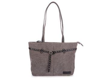 Szara torba shopper bag z płótna z ćwiekami