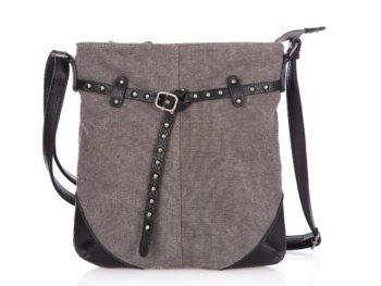 Średniej wielkości szara torba damska z paseczkiem z ćwiekami