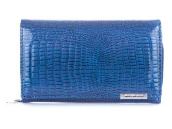 Niebieski portfel damski duży lakierowany