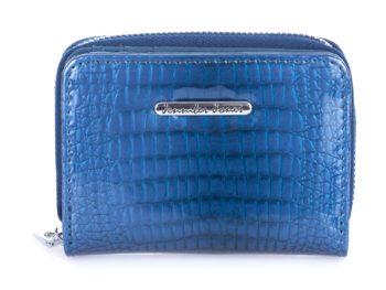 Mały niebieski portfel damski