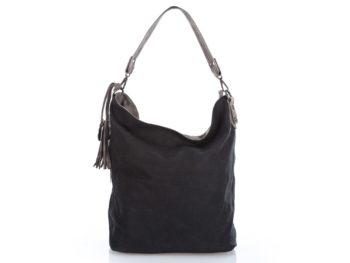 Czarna torebka - worek ze wzorkiem - Jennifer Jones