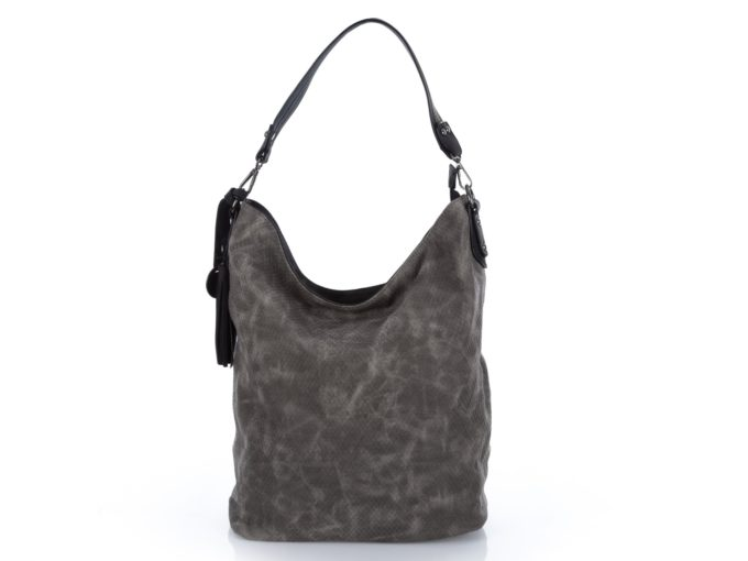 Szara mięciutka torba damska Jennifer Jones - worek