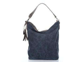 Granatowa torebka damska - worek z delikatnym wzorem - Jennifer Jones