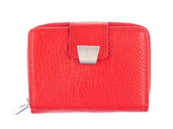Czerwony średni portfel damski z grubej skóry Jennifer Jones