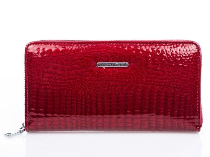 Czerwony portfel w stylu piórnika