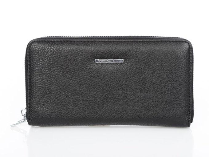 Czarny skórzany portfel typu piórnik Jennifer Jones