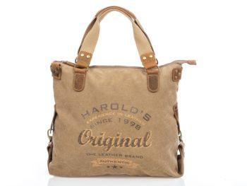 Beżowo-brązowa torba z płótna i skóry 4541