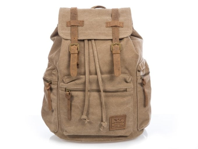 Duży brązowy plecak z canvasu i skóry naturalnej