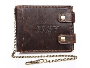 Ciemno brązowy portfel męski z łańcuchem