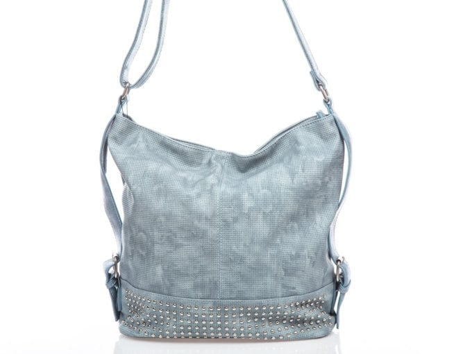 Błękitna duża torba damska z ćwiekami Jennifer Jones