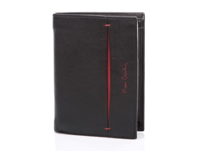 Duży skórzany portfel męski Pierre Cardin czerwony akcent