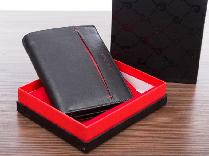 Portfel skórzany męski w pudełku pierre cardin z czerwonym paskiem