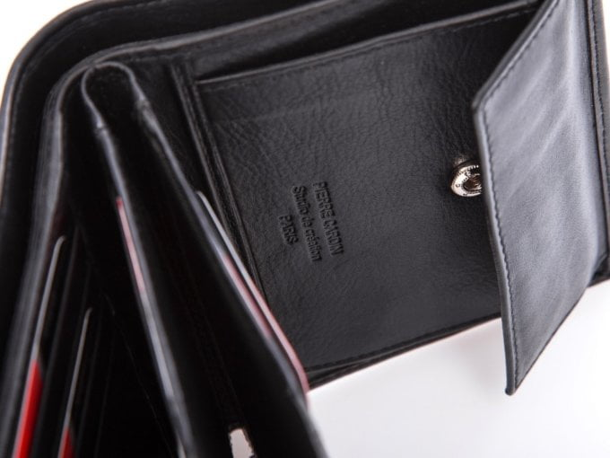 Czarny duży pionowy portfel męski pierre cardin paris