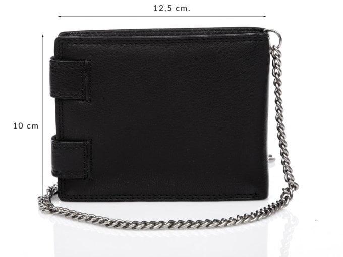 Duży, pojemny czarny skórzany portfel męski na łańcuchu Cash