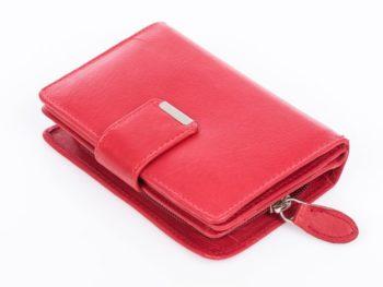 Czerwony głdki portfel Money Maker