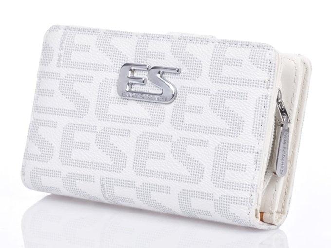 Duża biała modna portmonetka damska biała Emma Spagnesi
