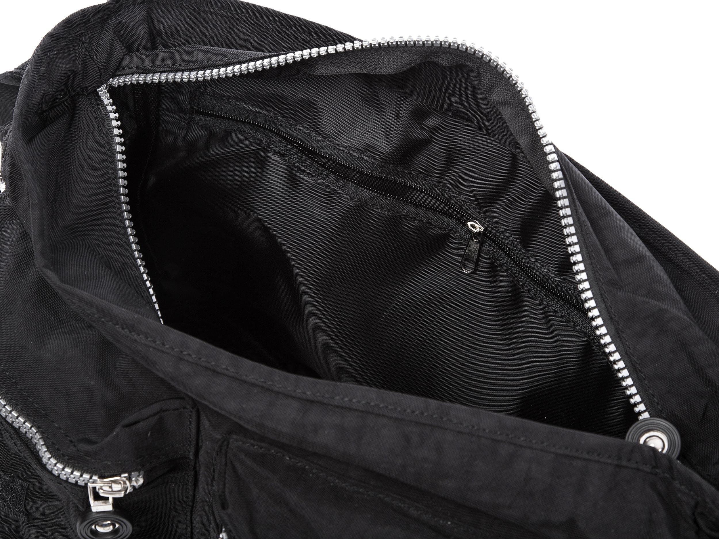 Czarna Materialowa Torba Poszerzana Turystyczna Z Klapka Bag