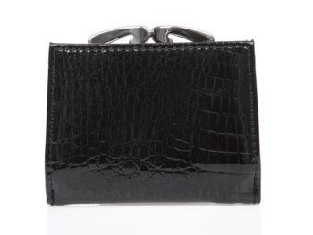 Mały czarny lakierowany portfel damski