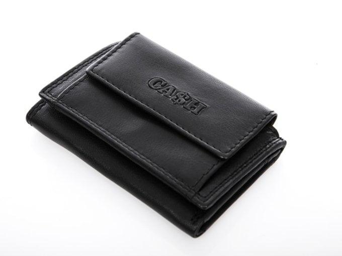 Nieduży czarny portfel męski z miękkiej skóry naturalnej