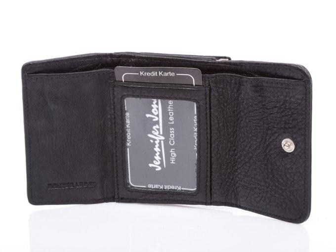 mały matowy czarny portfel damski jennifer Jones
