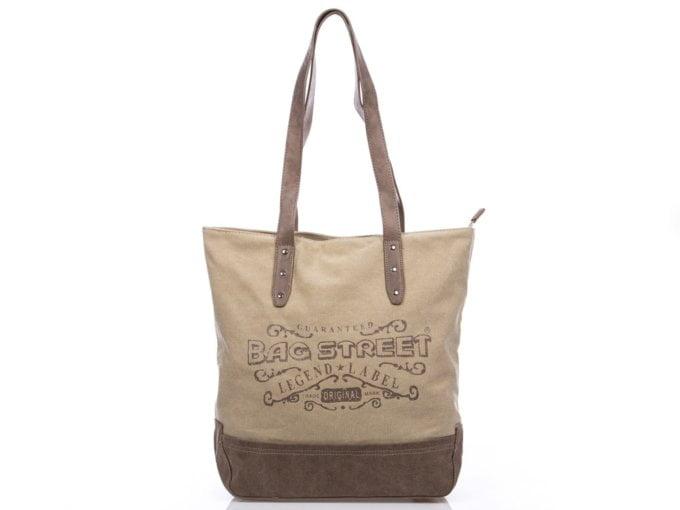 Beżowa płócienna torba damska shopperka Bag street