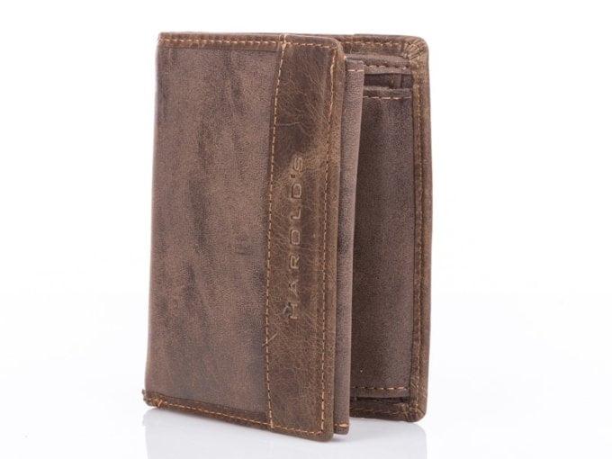 Brązowy portfel meski harodls skóra eko i naturalna