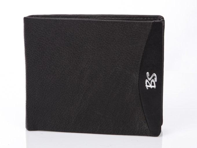 Logo bs klasyczny portfel męski czarny