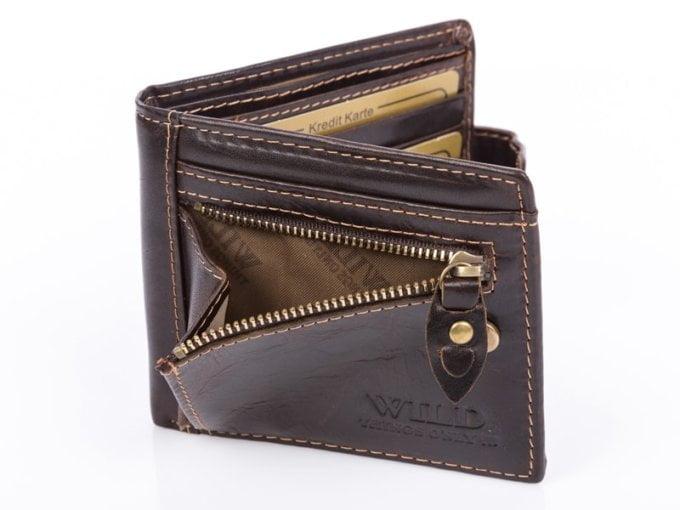 Ciemny brąz mały portfel męski z suwakiem