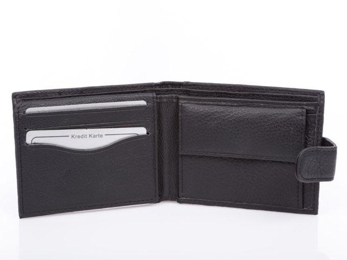 Czarny portfel męski skórzany do spodni