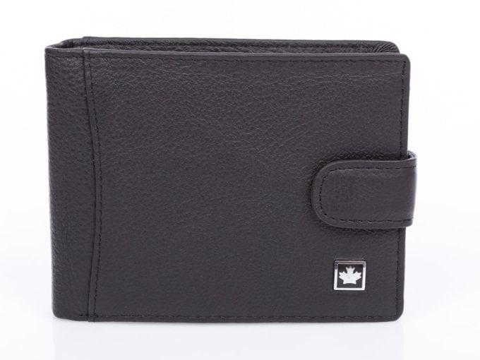 Duży czarny portfel męski skórzany