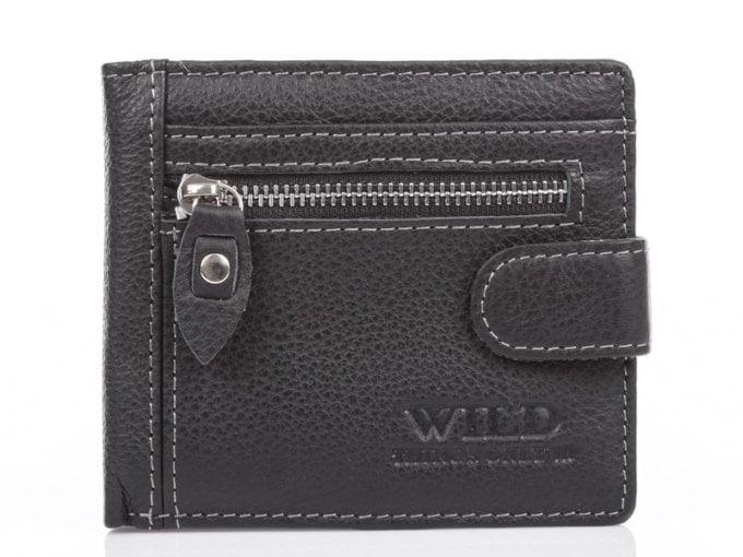 Czarny nieduży portfel skórzany WIld
