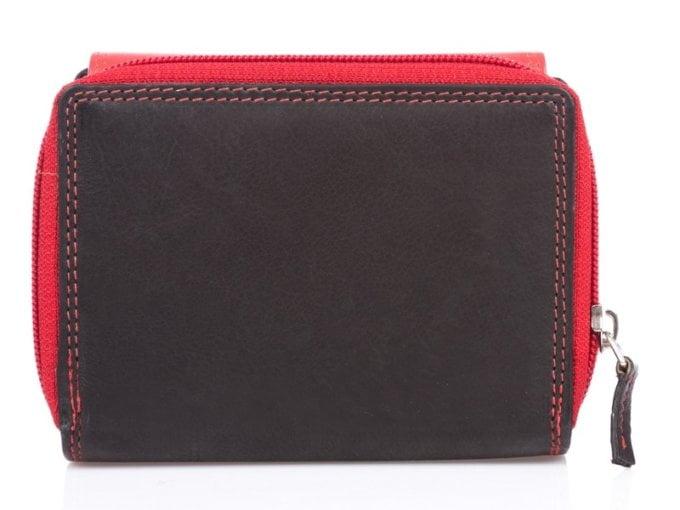 Czarno czerwony skórzany portfel damski