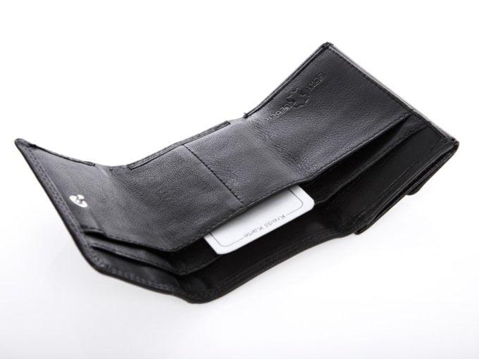 Czarnu skłądana portfel męski cash miękki