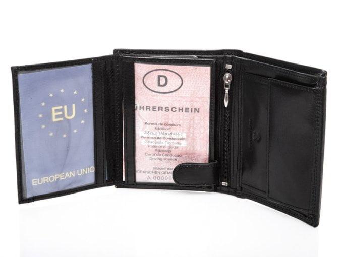 Elegancki i duży, pionowy, czarny portfel męski skórzany