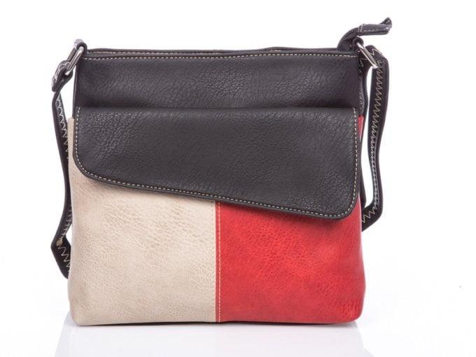 Czerwono beżowo czarna torebka damska