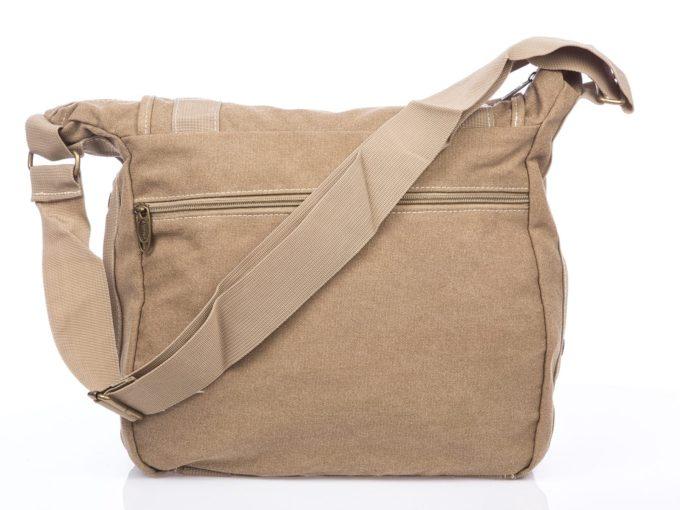 Beżowa duża torba na ramię z canvasu