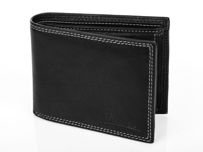 Męski klasyczny skórzany portfel czarny