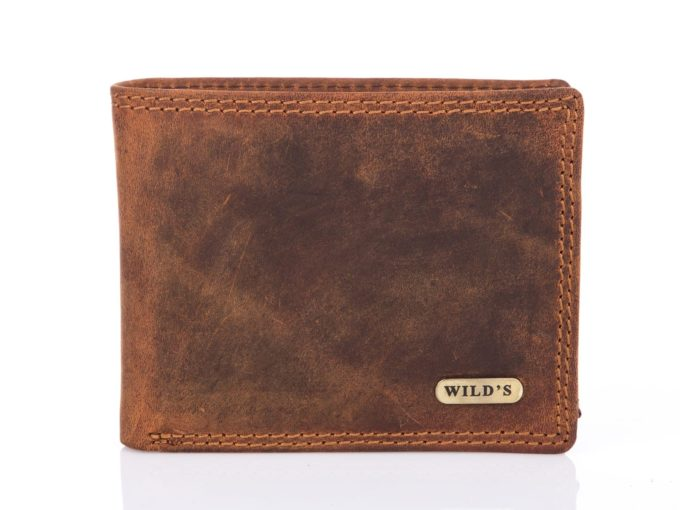 Skórzany męski portfel brązowy trifold vintage