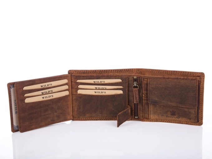 Brązowy cieniowany portfel męski trifold