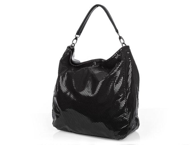 Duża błyszcząca torba damska czarna Jennifer Jones