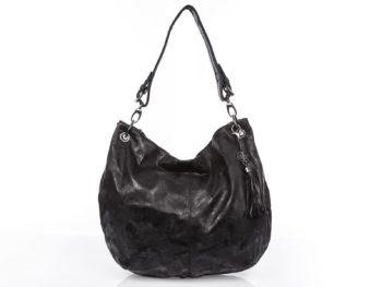 Duża torba damska typu worek Jennifer Jones z marmurkowym wzorkiem