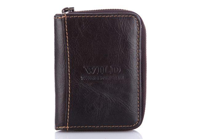 Ciemno brązowy portfel męski mały na zamek
