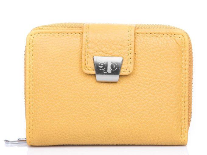 Żółty skórzany portfel damski Jennifer Jones