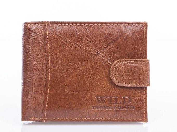 Brązowy mały portfel męski skórzany