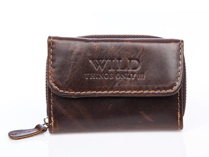 Malutki skórzany portfel męski na zamek blyskawiczny