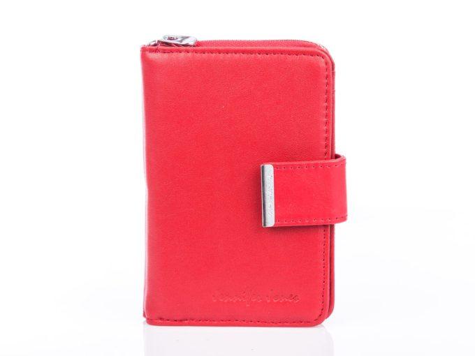Czerwony pionowy skórzany portfel damski jennifer Jones