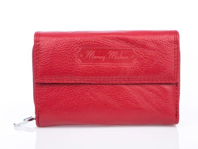 Pojemny czerwony skórzany portfel damski
